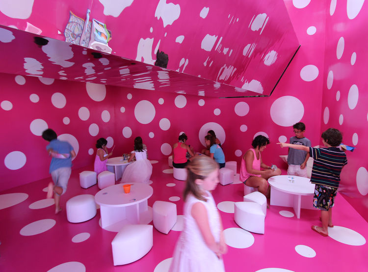 Polka dot room in children's plays pace.