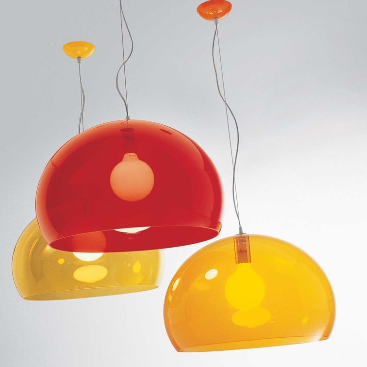 Plastic suspension light in orange and red