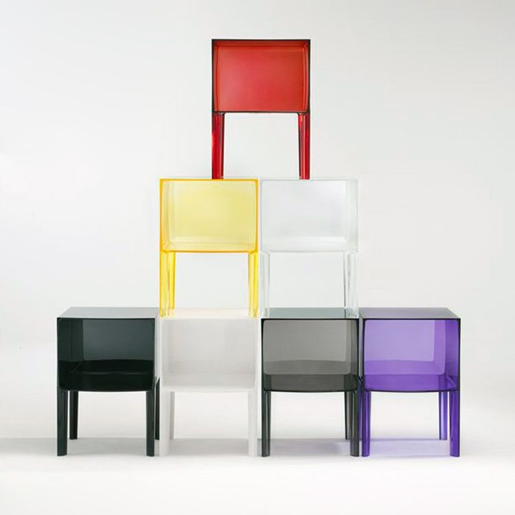 Square plastic side table in translucent colors