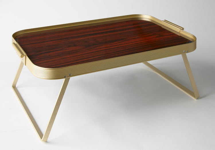 Sophisticated lap tray comprised of rosewood and gold tone steel