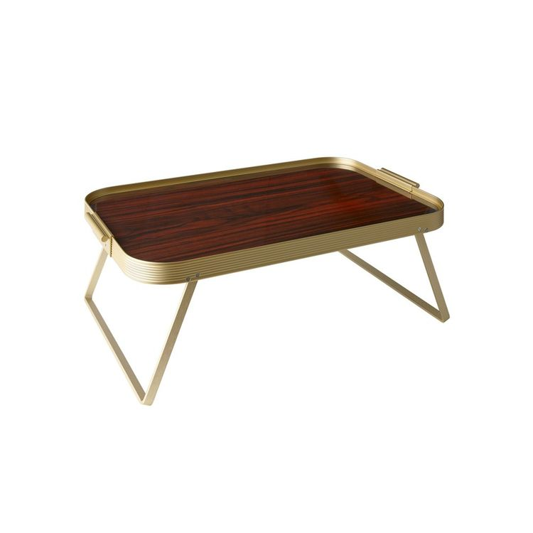 Rosewood lap table with gold anodized aluminum frame