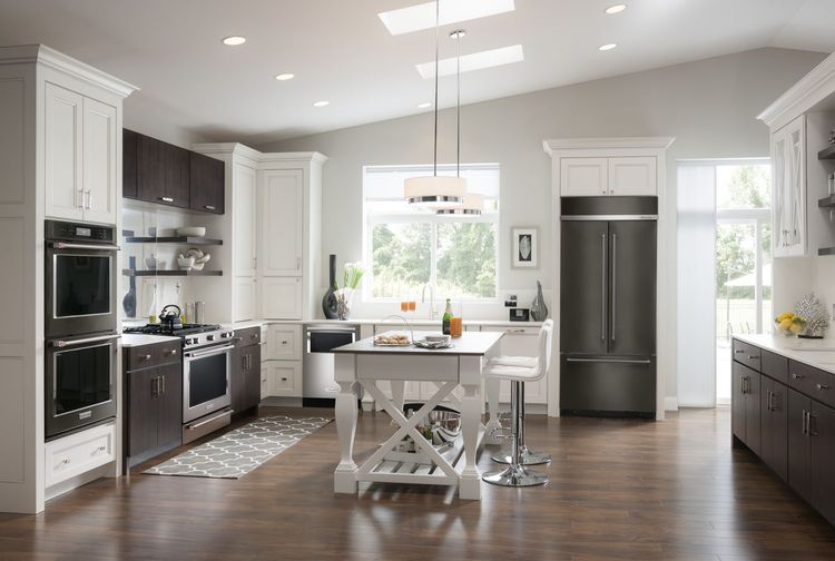 KitchenAid Black Stainless Steel appliances in a modern kitchen