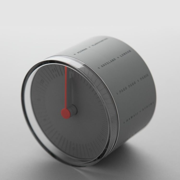 Grey desk clock with multiple time zones
