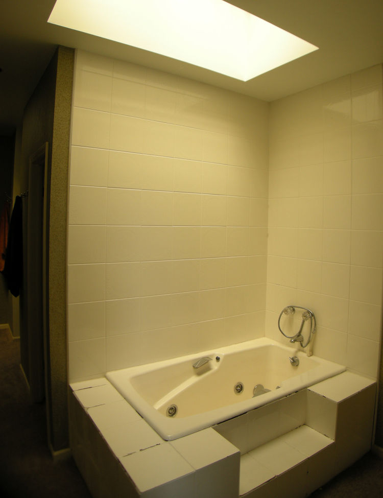 """Before"" picture of bathroom of Chicago renovation by dSPACE Studio."