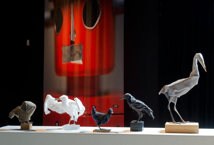 Fabric-wrapped bird sculptures by Maarten Kolk and Guus Kusters