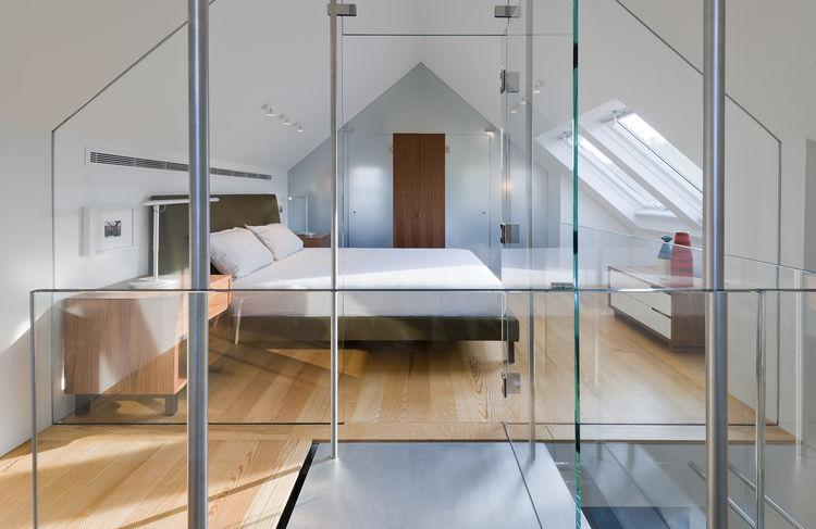 Ella bed and Lightolier fixtures in bedroom of Delaware renovation by Robert M. Gurney Architect