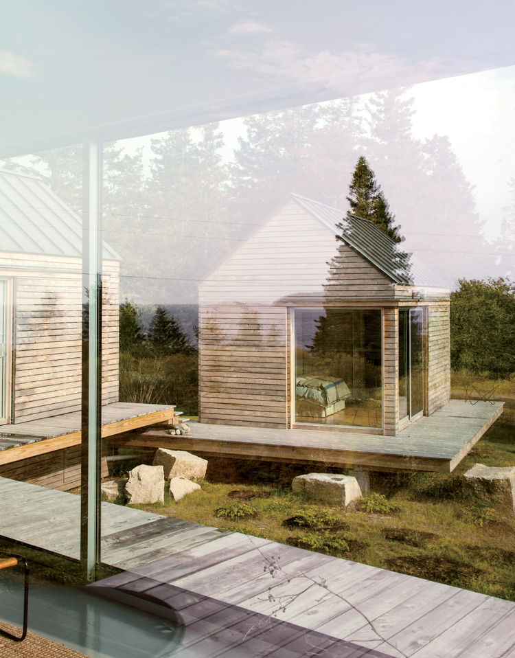 Vinalhaven cabins floor-to-ceiling windows.