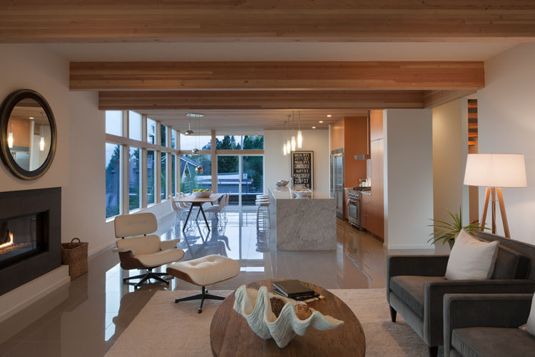 Douglas fir beams and Olympia Tile floors in Seattle home by JW Architects
