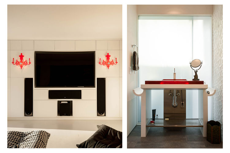 Louis 5d wall sconces by Ligne Roset in San Diego renovation by Architects Mangus.