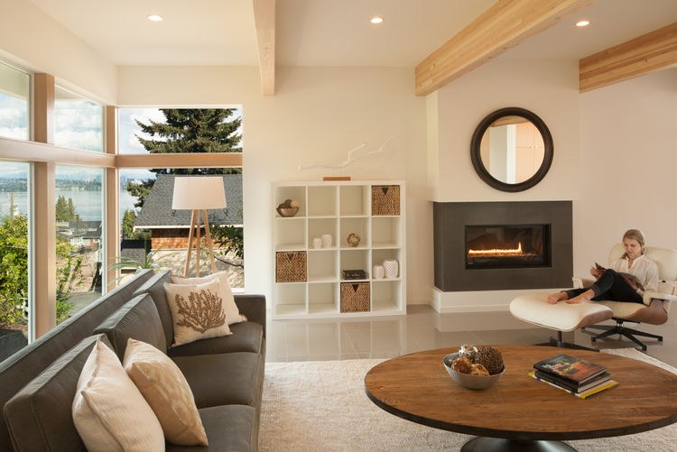 Sea Gull Lighting in living room of Seattle home by JW Architects