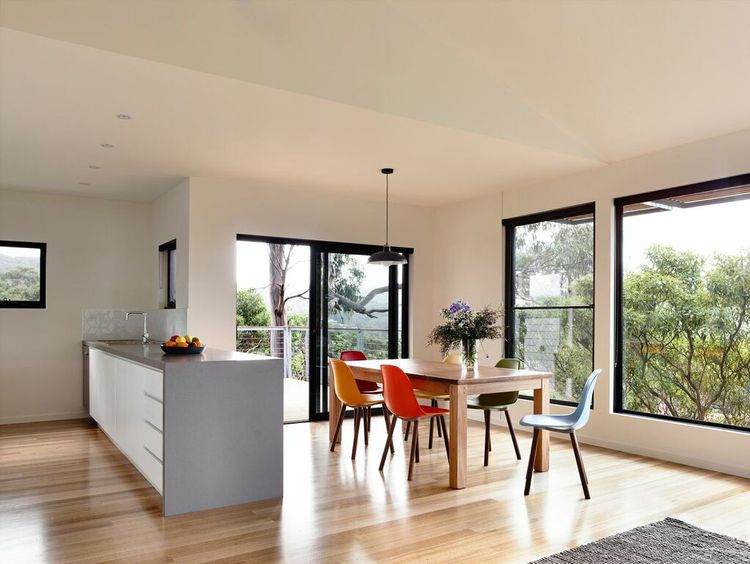 Open-plan dining room with a view
