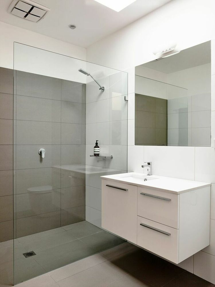 Minimal white bathroom in Australia