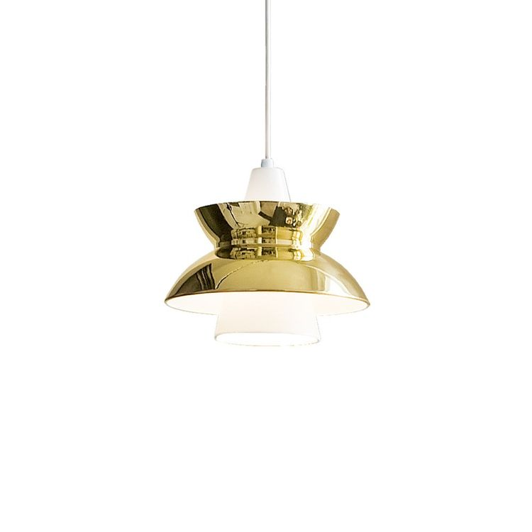 Midcentury pendant light with brass finish
