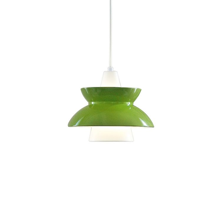 Green pendant light inspired by 1960s design