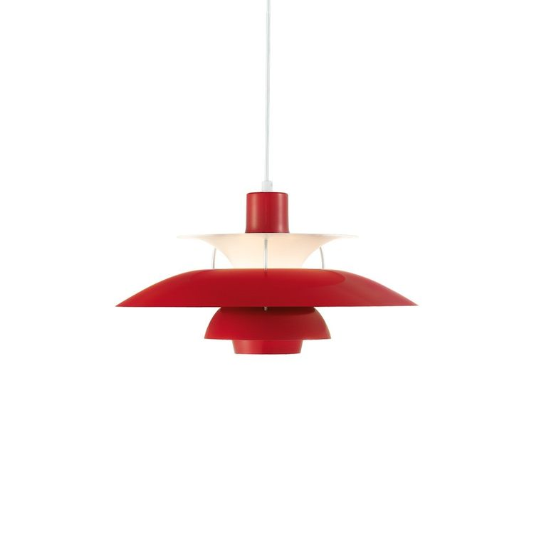 Iconic pendant light in chili red color