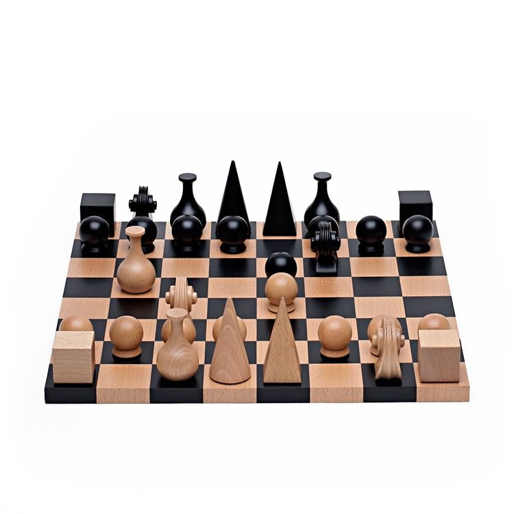 Artfully designed chess set with distinctive pieces