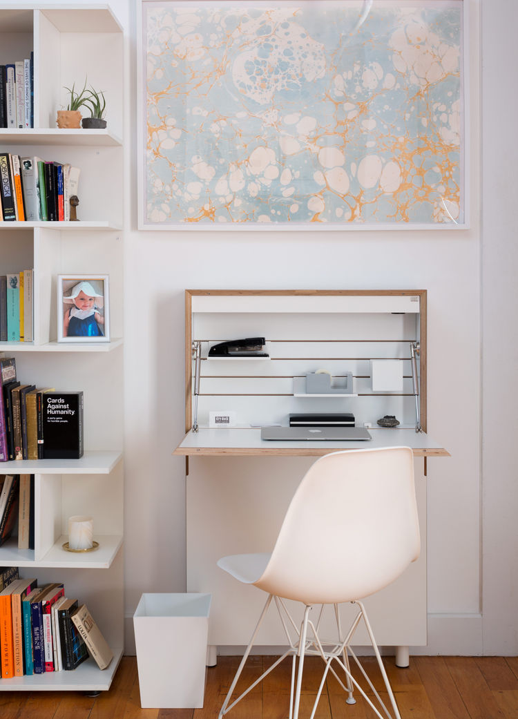 Modern Red Hook Brooklyn Apartment with Calico Wallpaper framed swatch in office