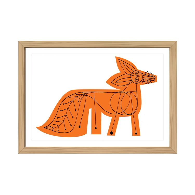 Framed art print of orange fox