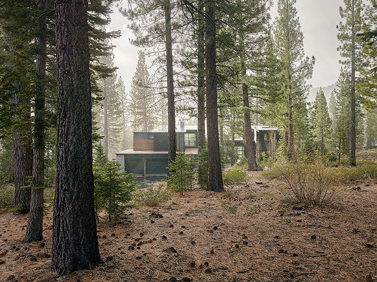 Martis Camp 141 in Truckee California exterior with two main volumes