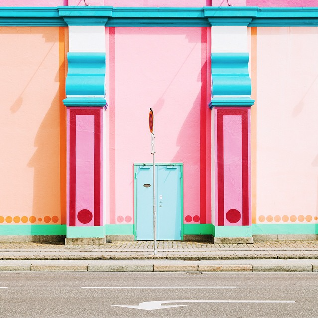 Colorful facade of building in unknown location
