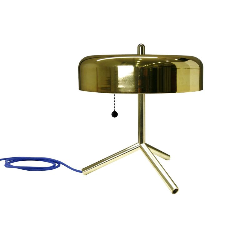 Innovative brass lamp with blue cord