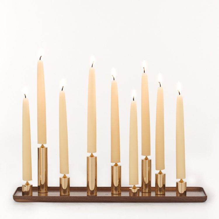 Elegant walnut and brass candlestick holders