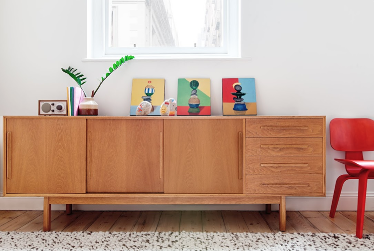 Melbourne Apartment Credenza in living room