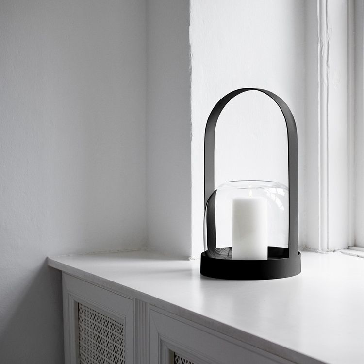 Powder-coated candle lantern