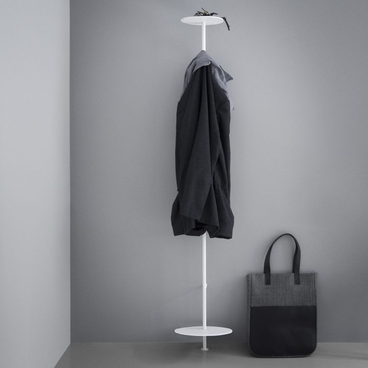 Powder-coated steel coat rack with platforms