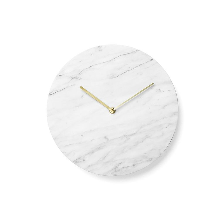 White marble wall clock with brass lacquered hands