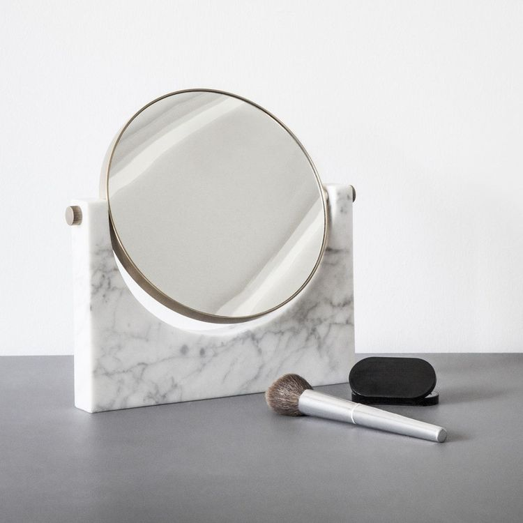 Table mirror with solid marble base