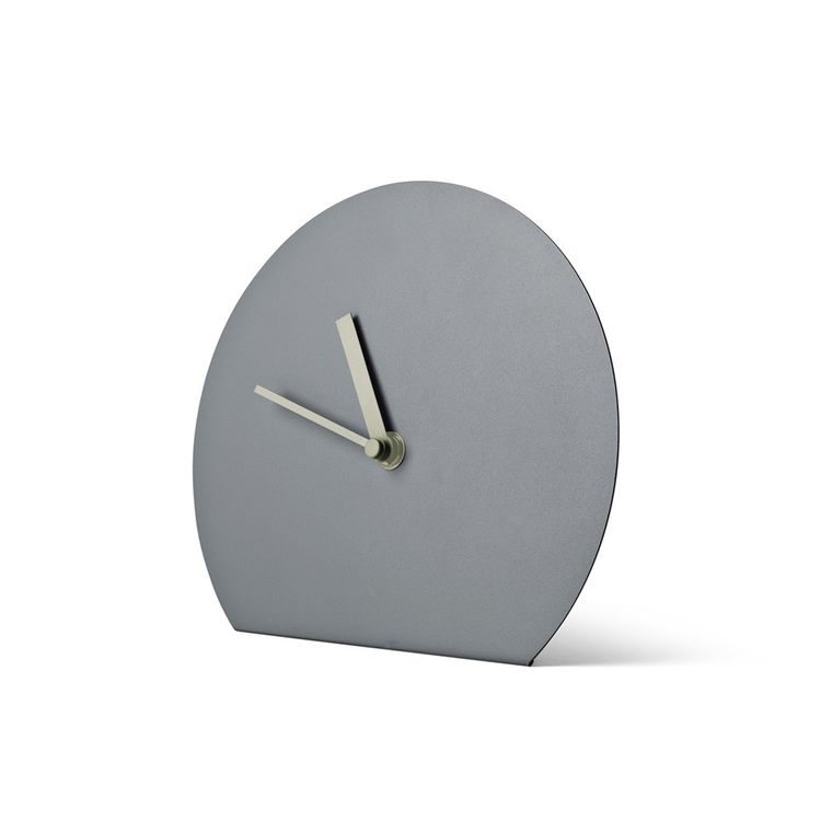 Steel table clock based on wall clock silhouette