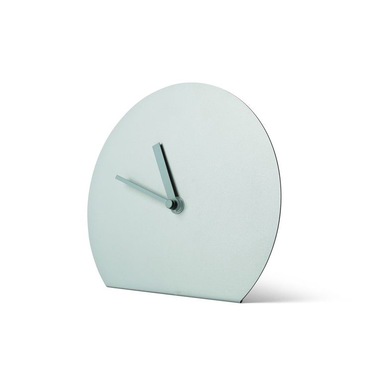 Steel round table clock with folded base