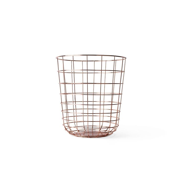 Steel wire basket in luxe copper plate
