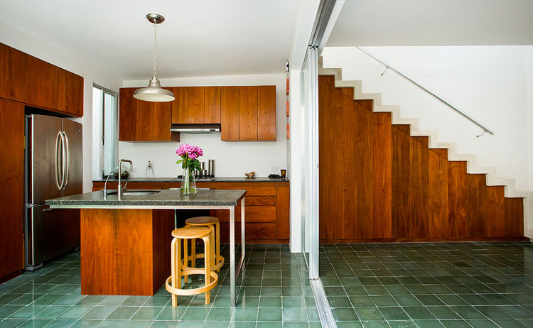 Modern Mexican kitchen with green cement tiles