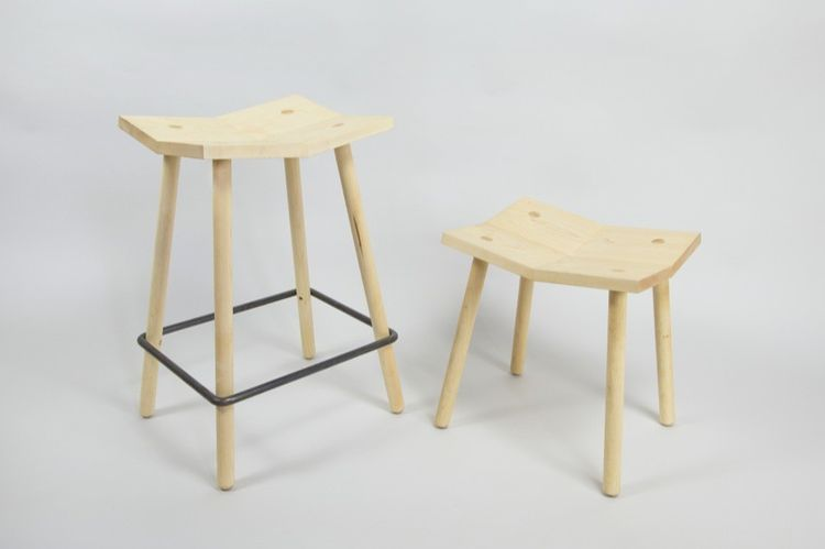Maple stool with geometric, sculptural seat
