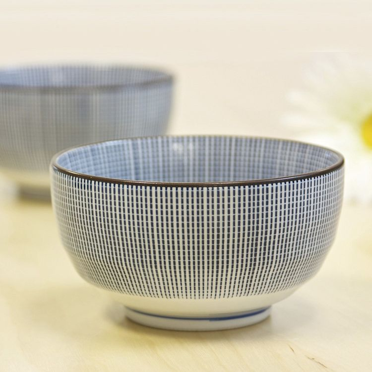 Traditional Japanese ceramic bowl with blue pattern
