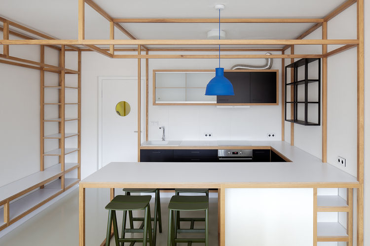 Mora appliances and Franke sink in kitchen of Prague guest apartment by Mjölk and DDAANN.