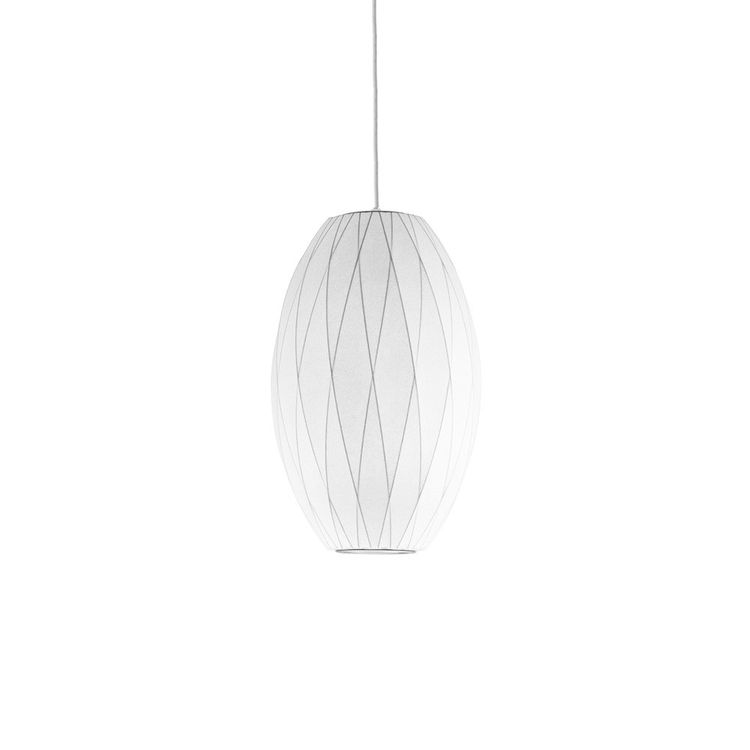 Pendant light featuring cigar shape and criss cross wires