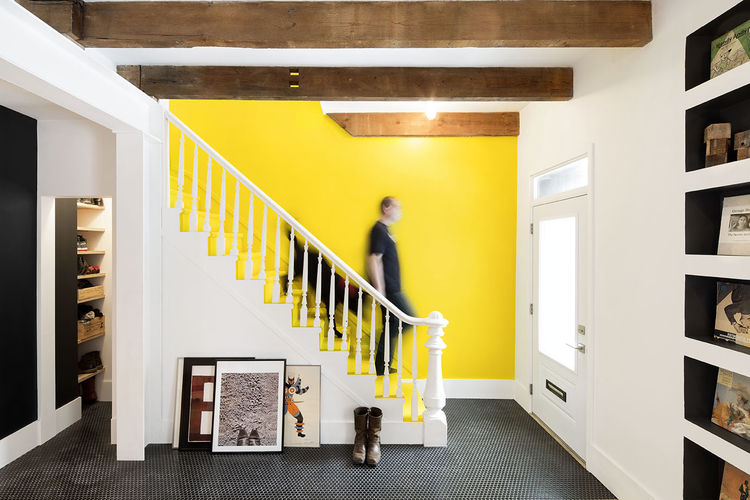 Montreal renovated row house entryway and stairs