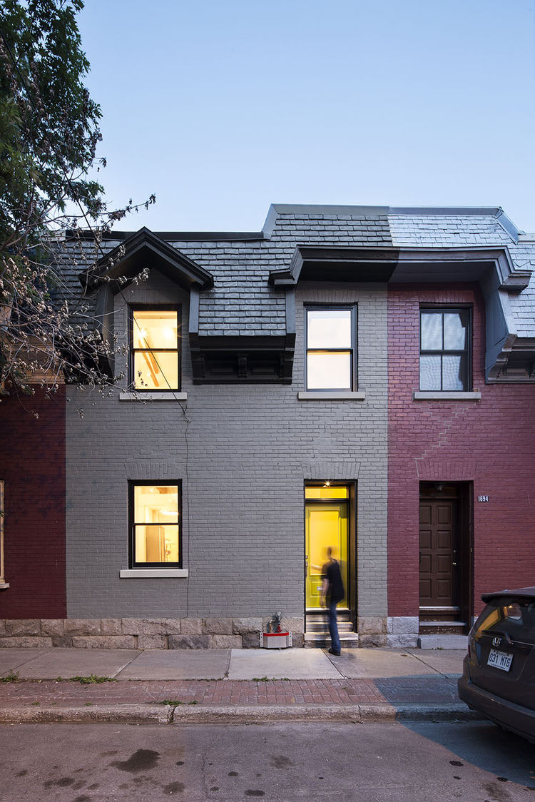 Exterior facade of a renovated Montreal row house