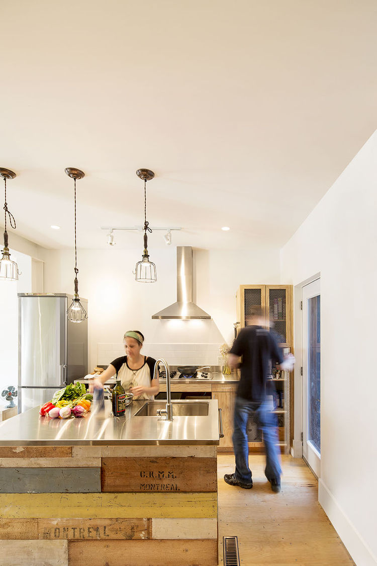 Montreal renovated row house kitchen