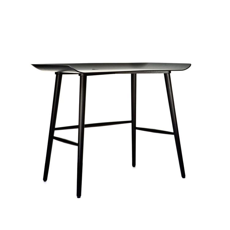 Black-washed modern desk with curved sides