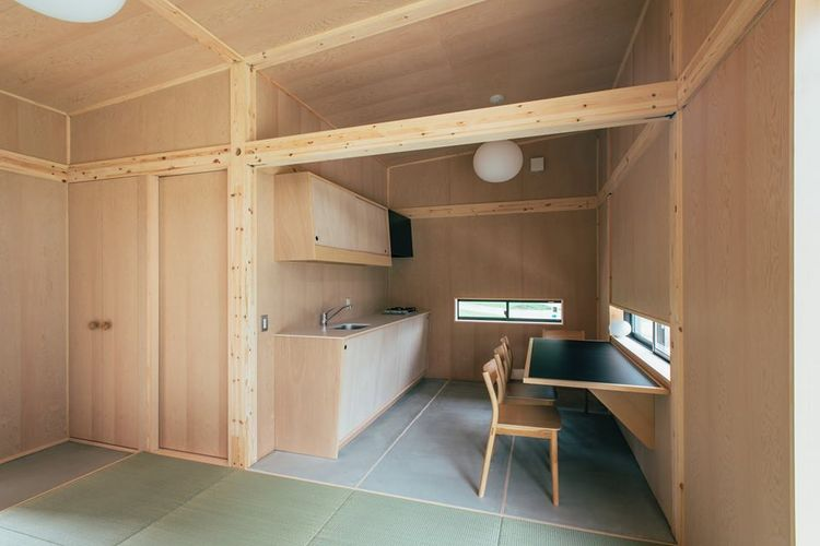Muji Hut by Jasper Morrison, interior view of kitchen.