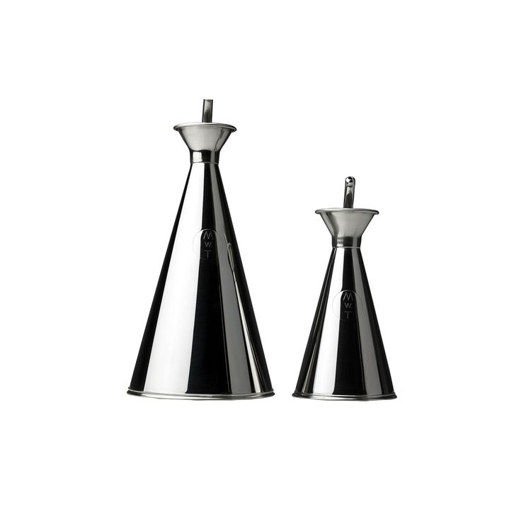Streamlined stainless steel cruet set