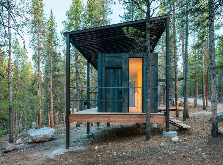 Modern Colorado prefab cabin by Outward Bound made of steel and birch plywood interior