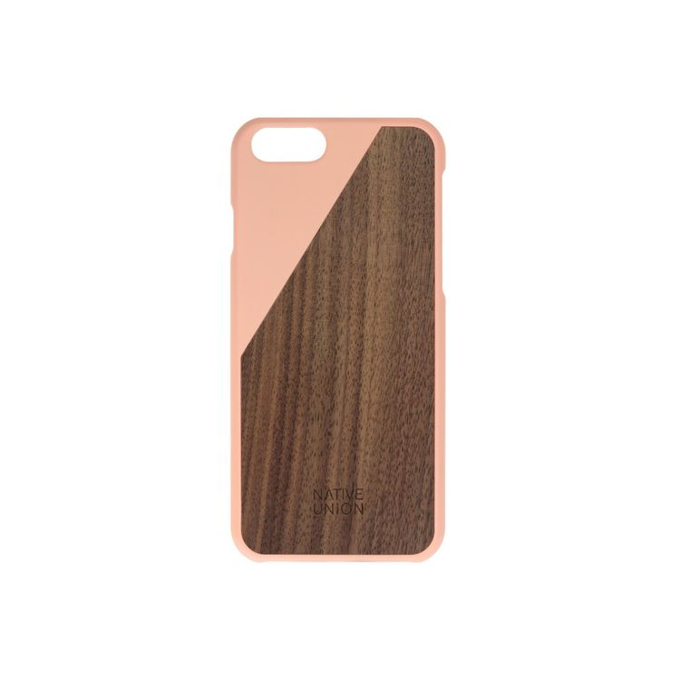 Simple iPhone case with walnut and pop of color