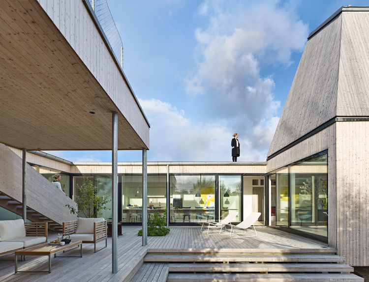 The outside deck of a Swedish home