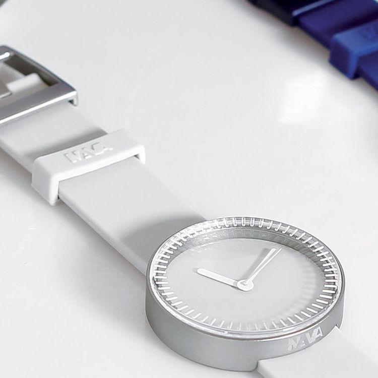 Monochrome wristwatch inspired by wine bottle base