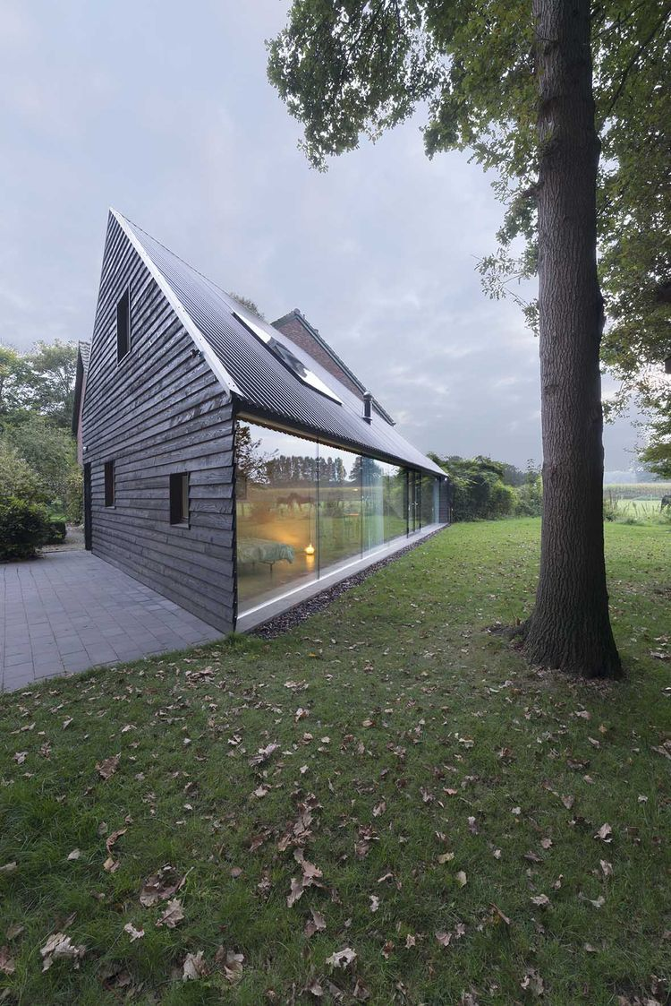 Triangular house with a pitched roof in the Netherlands
